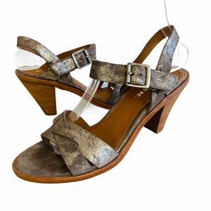 Trask Pewter Metallic Leather Strappy Sandals